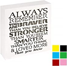 UCUDI Always Remember You are Braver Than You Believe – 6X 6 Inch Inspirational Gifts Positive Wall Plaque Saying Quotes f...