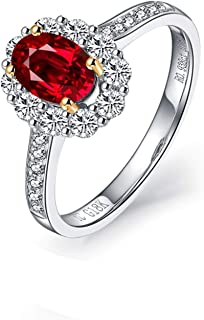 Women 18K White Gold Ring, 1.16CT Oval Shape Ruby Diamond Ring Eternity Anniversary Wedding Band Ring