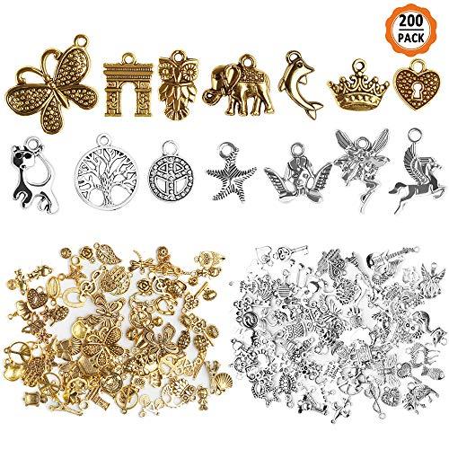 chudian 200 Pezzi Ciondolo per Gioielli Fai da Te Pendenti Gioielli Creazione per Collana Orecchini,Portachiavi, Ciondoli Accessori per Gioielli(Oro Antico Argento)