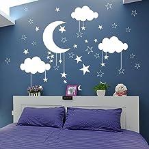 Cartoon Moon Star Cloud Muursticker Kinderkamer Babykamer Natuur Ruimte Sky Muurtattoo Kinderkamer Slaapkamer Vinyl Decor Art