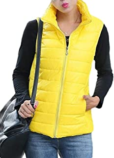 Womens Stand Collar Classic Front Zip Up Padded Puffer Vest Jacket Outwear