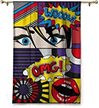 Blackout Curtain Tie Up Shade Window Art,Comic Book Inspired Style Wooow OMG Eyes Reading Panels Lines Excitement Action Print,Multicolor,48