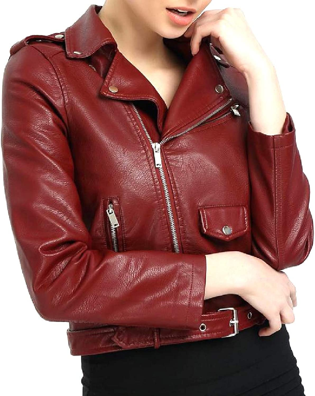 Vska Women MultiZipper Faux Leather Jackets with Shoulder Straps