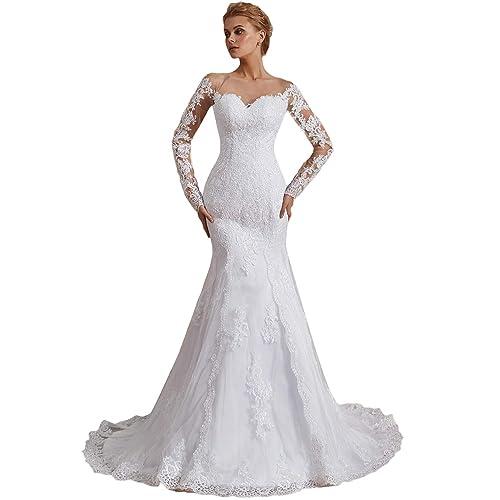 Long Sleeve Mermaid Wedding Dress Amazon Com