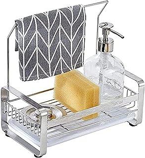 YunNasi Porte Eponge Evier Cuisine Panier de Rangement avec Bac De Récupération Évier Rangement Support SUS304 Acier Inoxy...