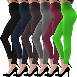 Women`s Fleece Lined Leggings High Waist 3/6 Pack Super Soft Slimming Winter Warm Leggings
