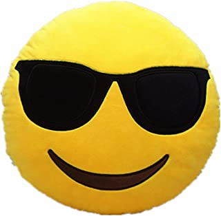 AB VOLTS Cool Glasses 12.5 Inch Emoji Pillow Large Plush Soft Yellow Smiley Emoticon
