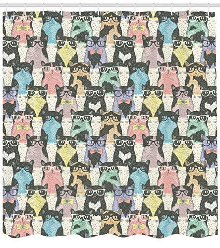 Divertida decoración de Dibujos Animados para niños Hipster Gato con Gafas Impresión HD, Cortina de Ducha Impermeable para baño, 12 Ganchos Gratis, 180x180cm
