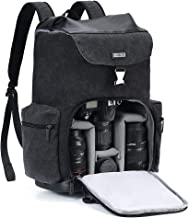 Camera Backpack CADeN Canvas Camera Bag for DSLR/SLR Mirrorless Camera with 15.6 inch Laptop Compartment, Camera Case Compatible for Sony Canon Nikon Cameras and Lens Tripod Waterproof Black