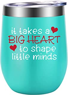 Teacher Gifts for Women, Teacher Christmas Gifts for Teachers, Preschool Teacher Appreciation Gifts, Thank You Gift Ideas for Teacher - It Takes a Big Heart to Shape Little Minds - LEADO Wine Tumbler