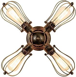 Huahan Haituo Kinkiet ścienny z klatką drucianą, przyciemniany metalowy przemysłowy kinkiet w stylu vintage Edison mini an...