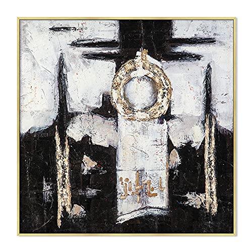 xinxinxiangrong Abstracto Negro Blanco Amarillo Tinta Tendencia Pincel Estilo Lienzo Pintura Cartel Pared Arte imágenes impresión decoración del hogar A84 50 × 70 CM sin Marco