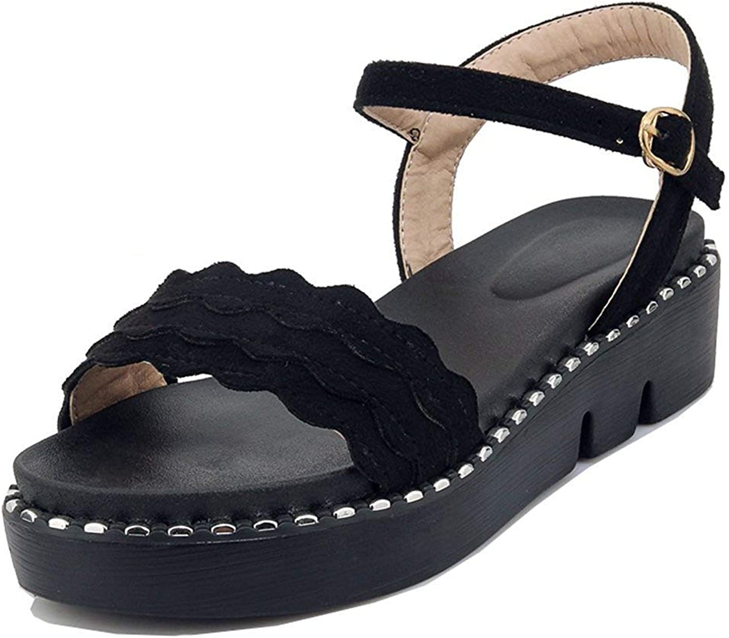 Unm Women's Platform Flat Sandals with Ankle Strap - Comfort Thick Sole - Open Toe Buckled