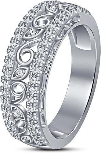 Vorra Fashion Herren Band Jahrestag Ring massiv 925 Sterling Silber Weiß platiniert