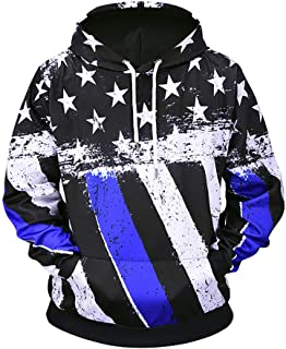 Unisex Novelty Hoodies Fashion 3D Digital Printed Pullover United States of America National Flag Hooded Sweatshirt Pockets