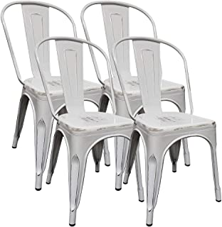 H JINHUI White Metal Dinning Chairs Distressed Metal Chairs Set of 4 Chairs Stackable Indoor Outdoor Dinning Room Chairs for Kitchen Patio Bistro Cafe Trattoria Vintage Chic Side with Back