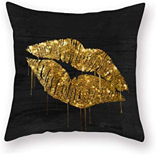SmilyardGold Sexy Lip Throw Pillow Covers Black Gold Lips Pattern Design Decorative Pillow Case Super Soft Rock Punk Neoclassical Style Cushion Cover 18x18 Inches for Home Sofa (Lip-B)