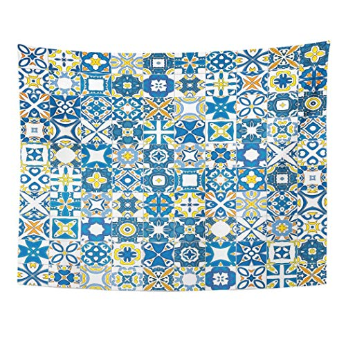 Wandteppiche, Tapestry Wall Hanging Blue Abstract in Traditional Style Like Portuguese Tiles Orange Arabesque Tiled 60