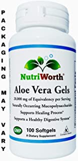 NutriWorth Organic Aloe Vera 20,000mg Supplement - 100 Softgels (NON-GMO) Kosher Certified