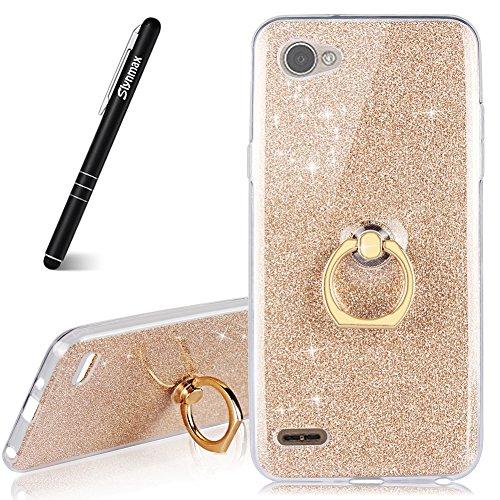 Glitzer Hülle für LG Q6,Slynmax Silikon Hülle Glitzer Tasche Transparent TPU Silikon Hülle Handyhülle Metall Ring Stand für LG Q6-Gold