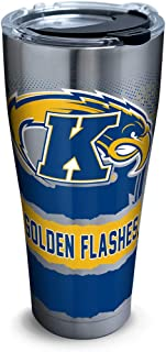 Tervis 1298596 Kent State Golden Flashes Knockout Insulated Tumbler with Clear and Black Hammer Lid, 30 oz Stainless Steel, Silver