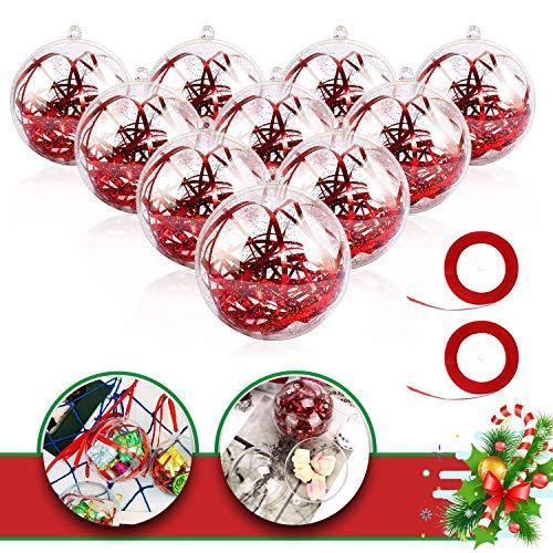 WELLXUNK Bola Transparente, Plástico Bolas de Árbol, Transparente para Manualidades Bola, Bolas Rellenables, Bola de Navidad Transparente de Adorno Rellenable para Manualidades (20 Piezas)