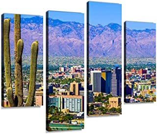 Canvas Wall Art Painting Pictures Tucson Arizona Skyline Cityscape Framed by Saguaro Cactus and Modern Artwork Framed Posters for Living Room Ready to Hang Home Decor 4PANEL