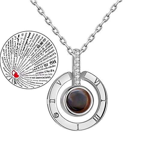 eaa9ecb9f395e8 Inf-way I Love You Necklace, 925 Sterling Silver 100 Languages Projection  on Round