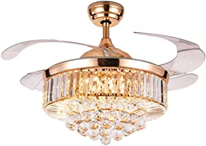 42Inch Crystal Ceiling Fan with Light Luxury LED Chandelier Remote Control Invisible Acrylic Blades Ceiling Fixture, Rose Gold Color