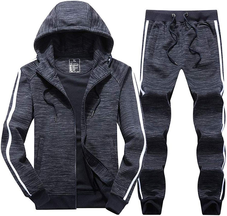 Bon Soir Men's Athletic 3-Stripe Full-Zip Jogger Sweat Suit Casual Sports Tracksuit