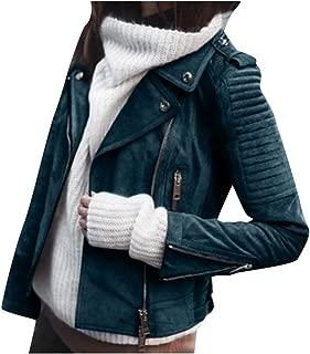 Women's Faux Suede Leather Motorcycle Jacket PU Slim Long Sleeve Zipper Short Biker Coat Parka Outwear for Women Daorokanduhp