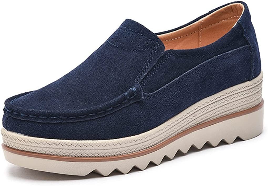 Ruiatoo Women's Leather Platform Slip Moccasi Loafers AL完売しました。 新商品 新型 on Comfort