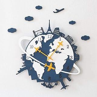 Dekorativ väggklocka Earth Wall Clock Mute Inomhus 3d Väggklocka Framlös Väggklistermärke Dekal Barnrum Pojke Presentkort ...
