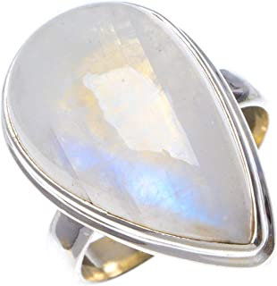 Natural Rainbow Moonstone Handmade Unique 925 Sterling Silver Ring 6.5 B1044