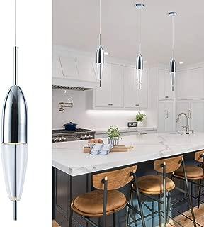 Bewamf Modern LED Island Pendant Lighting Mini Contemporary Glass Hanging Chandelier Tube Shape Light Fixture for Kitchen Island Living Dining Room Bedroom Chrome