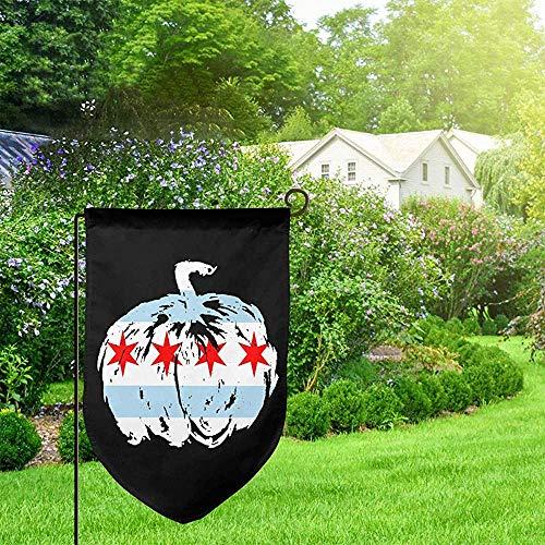 AllenPrint Flag Banner,Chicago Kürbis Halloween Flagge Garten Flagge, Awesome Home Garden Flaggen Für Haus Willkommen Dekoration,32x45.7cm