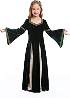 Dark Paradise Kids Girls Womens Medieval Renaissance Dress Costume Halloween Vampire Cosplay Hooded Robe Gown 4-12T