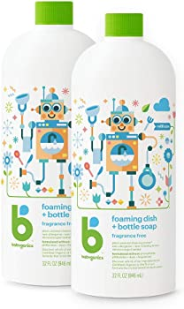 2-Pack Babyganics Foaming 32oz Dish and Bottle Soap Refill