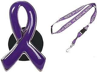 """Purple Awareness Enamel Awareness Pin + 34"""" Purple Awareness Lanyard"""