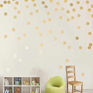 Easy Peel + Stick Gold Wall Decal Dots - 2 Inch (200 Decals) - Safe on Walls & Paint - Metallic Vinyl Polka Dot Decor-Roun...