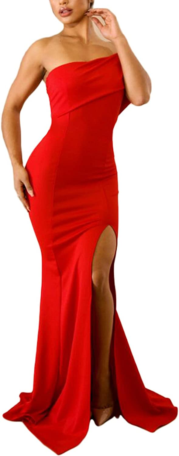 ZKESS Women's Off The Shoulder One Sleeve Slit Maxi Party Prom Dress