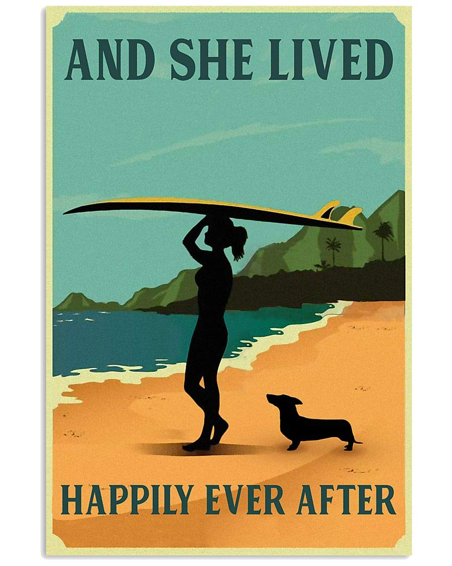 Vintage She Lived Happily Surfing Poster Discount is also Now on sale underway Girl Dachshund Dec Wall