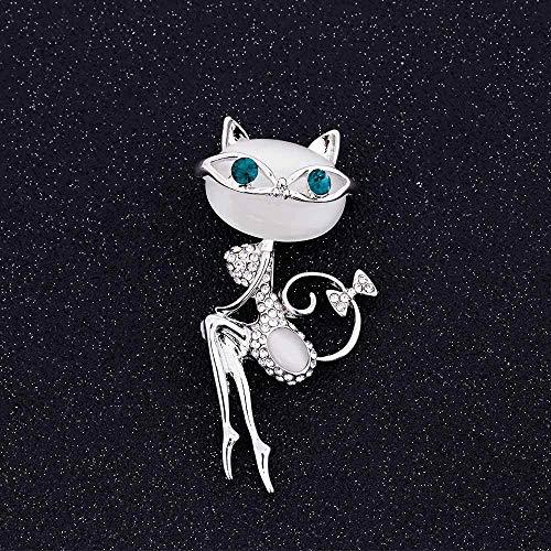 Broche de ópalo con diseño de gato con gafas de sol para mujer sexy y lindo gato Pin y broche accesorios de boda (Metal Color: Oro amarillo claro, Tamaño: Normal)