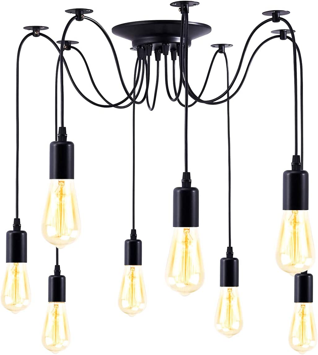 8 Arms Vintage Popular brand Industrial Style Chandelier Lam Cheap mail order sales Spider Adjustable