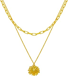 LANE WOODS Pendant Layered Necklace: Long Gold Plated Sunflower Paperclip Link Chain for Women Teen Female Friend