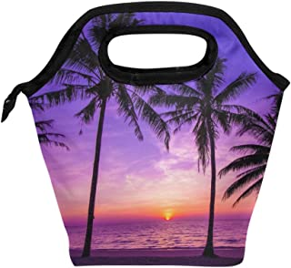 BETTKEN Lunch Bag Palm Tree Sea Sunset Insulated Reusable Lunch Box Portable Lunch Tote Bag Meal Bag Ice Pack for Boys Girls Adult Women
