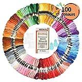 刺繍糸 刺しゅう セット 100色 刺繍針16本 糸通し 糸巻き板 刺繍針セット 和服図案の作り 編み物 ステッチ ミサンガ クロスステッチ カラフル 手芸キット 初心者 128pcs 豊富なアクセサリが 全て揃ったまとめ買い
