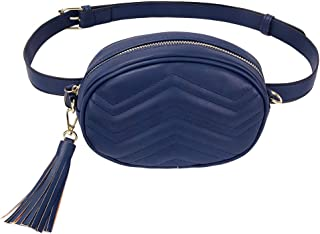 TJEtrade Fanny Packs for Women Fashion Waist Bag Leather Belt Bum Bag Waterproof (Sapphire blue)