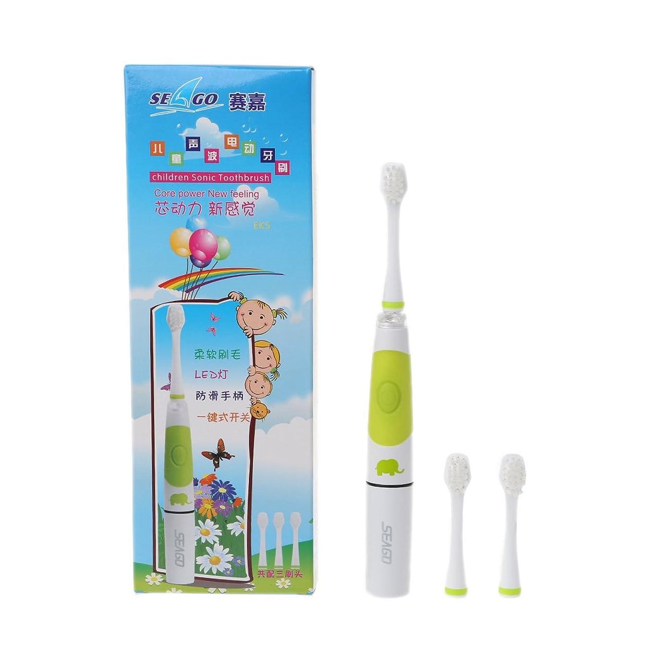 香り曲げるパーツBiuuu SEAGO Sonic電動歯ブラシキッズバッテリー歯ブラシLEDインジケーター3ヘッド (グリーン)