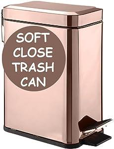 Soft Close, Rectangular Trash Can 5L with Anti - Bag Slip Liner and Lid, Use as Mini Garbage Basket, Slim Dust Bin, or Decor in Bathroom, Restroom, Kitchen, or Bedroom (Rose Gold)